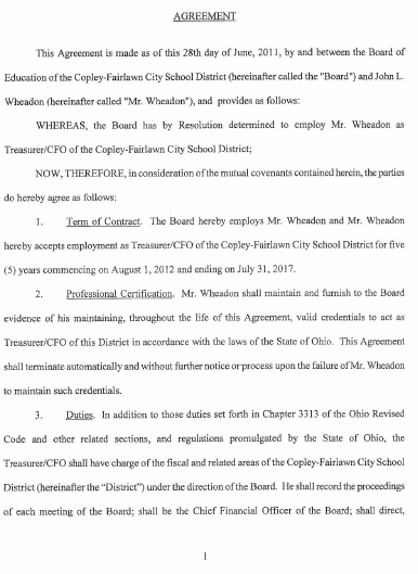 CopleyFairlawn City School Treasurer Contract  Copley